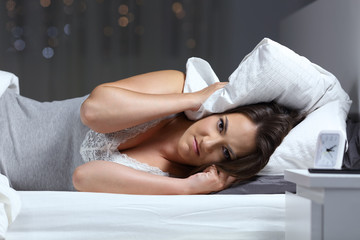 Angry woman suffering for neighbour noise