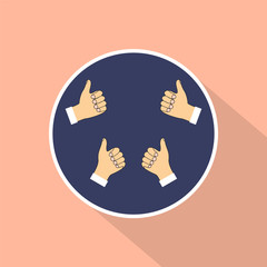 Hands show thumbs up. Vector background in flat design style.