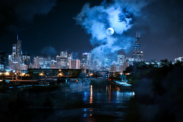 City of Chicago skyline with the river and a full moon at night Fotoväggar