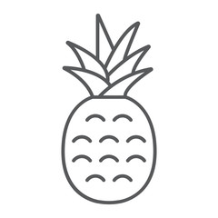 Pineapple thin line icon, fruit and ananas, tropical sign, vector graphics, a linear pattern on a white background, eps 10.