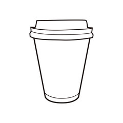 Vector illustration of coffee cup. Vintage icon for drink and beverage menu or cafe design.