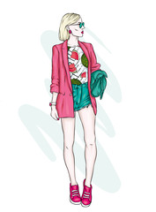 A tall slender girl in short shorts, a jacket and high-heeled shoes. Beautiful model in stylish clothes. Vector illustration for a postcard or a poster, print for clothes.