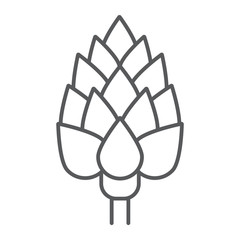 Artichoke thin line icon, vegetable and diet, vegetarian sign, vector graphics, a linear pattern on a white background, eps 10.