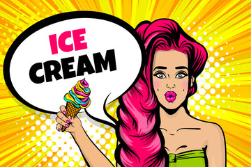 Caucasian pink hair young girl pop art. Sexy young woman hold ice cream. Comic text advertise speech bubble. Halftone summer background.