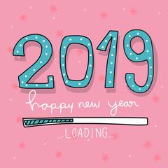 2019 loading cartoon vector illustration