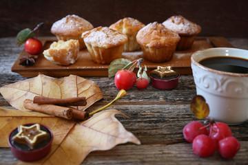 Autumn coffee break: cinnamon apple muffins