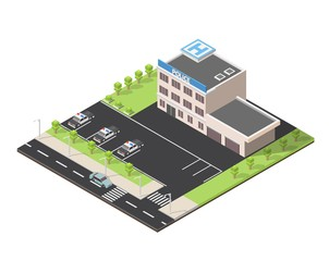 Isometric police station low poly building