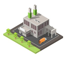 Isometric low poly waste processing plant isolated