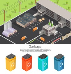 Isometric low poly waste processing plant template isolated infographics