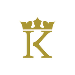 K logo letter with golden crown