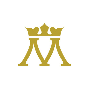 M logo letter with crown design