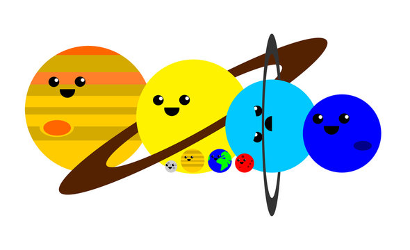 Cute illustration of the planets of the solar system