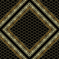 Gold rhombus 3d greek key meander frames seamless pattern.