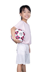 Asian Little Chinese Girl holding football