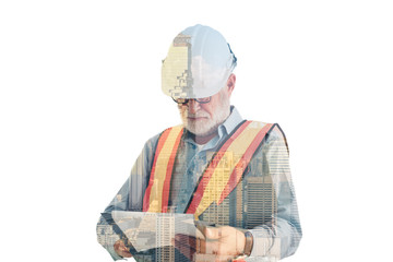 Double exposure engineering construction and city concept., Senior engineer