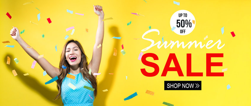 Summer sale with happy woman with confetti on a yellow background