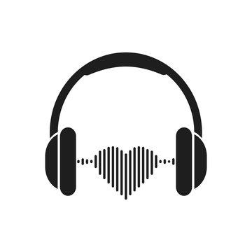 Headphone. Love music. Vector.
