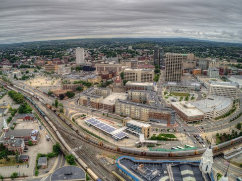 Aerial Drone View of Worcester, Massachusetts on a Cloudy Day