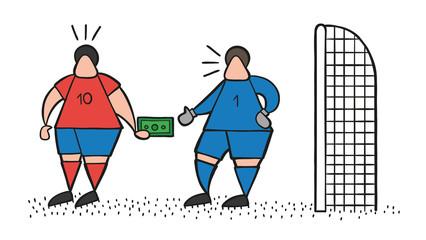 Vector cartoon soccer player man giving bribe and goalkeeper taking money
