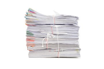 Stack of business document papers  isolated on white background