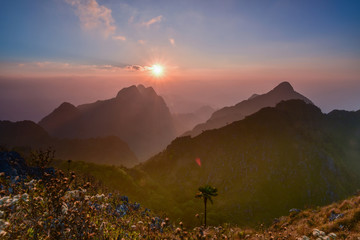 Beautiful sunset on the peak of Doi Luang Chiang Dao, Chiang Mai, Thailand