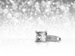 Princess Cut Diamond Ring placed on White Background with Light Bokeh Background, 3D Rendering.
