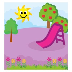 purple playground in the sunny day scenery landscape background