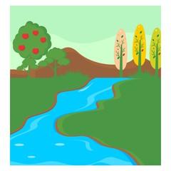 lake river green meadow scenery landscape background