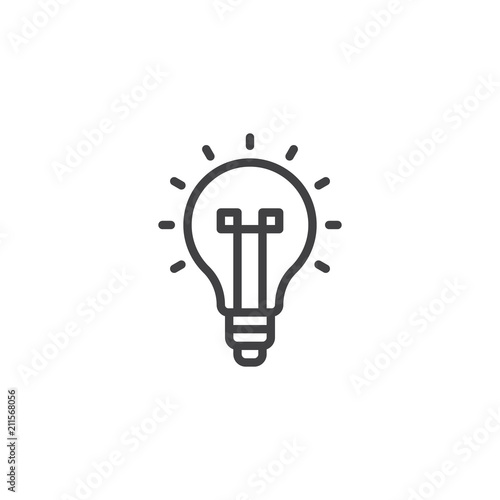 Light Bulb Outline Icon Linear Style Sign For Mobile Concept And