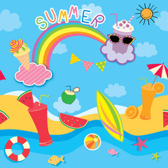 Illustration vector seamless pattern of summer background design with colorful refreshment on the beach