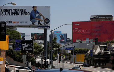Billboards are pictured on the Sunset Strip in Los Angeles