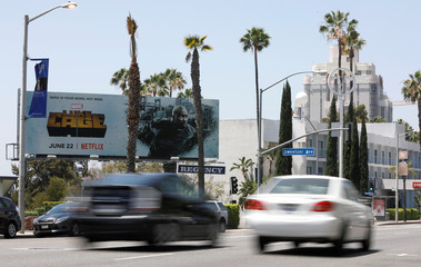 A billboard is pictured on the Sunset Strip in Los Angeles