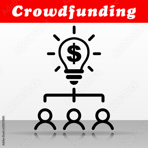 black crowdfunding vector icon design stock image and royalty free