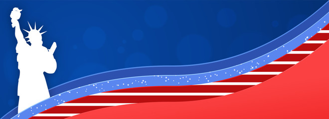 Website header or banner design with Statue of Liberty on paper cut american flag background.