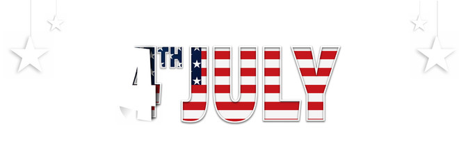 Website header or banner design with stylish 4th of July text in american flag color and white hanging stars.