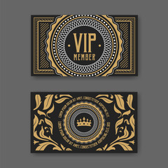 VIP membership card certificate template. Vector illustration