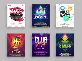 Musical or summer party flyer or poster design set in six different styles.