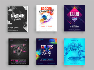 Vector illustration of six different style party flyer or banner design.