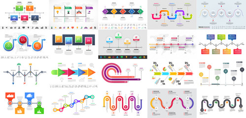 Colorful multiple levels Timeline Infographic for Business concept.