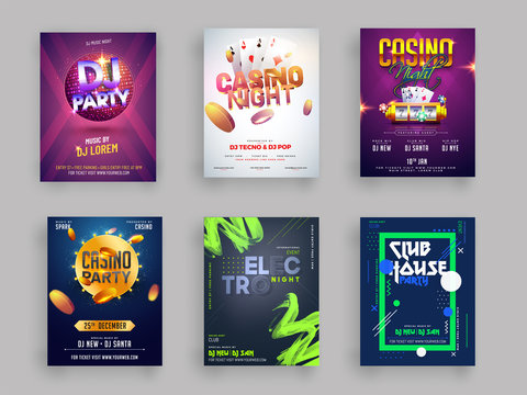 Casino, DJ and Musical Party flyer or template collection in six different styles.