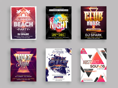 Musical Party template for flyer design collection in six different styles.