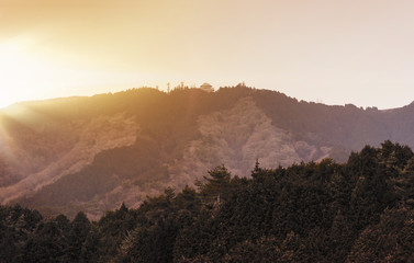 Sunset on Mount Hiei near Kyoto with Garden Museum Hiei