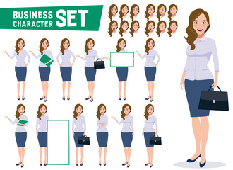 Business woman character vector set with professional young female office employee standing in different gestures and pose in white background. Vector illustration.