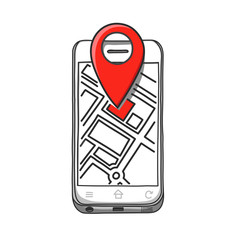 location with map on smartphone. Draw by hand on tablet. Vector illustartion.