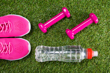 pink sport sneakers and dumbbells for fitness, and a bottle of water against the background of grass