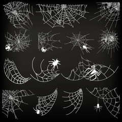 Halloween monochrome spider web and spiders isolated on black background. Hector venom cobweb set. Vector illustration. Spider web elements,spooky, scary, horror halloween decor.
