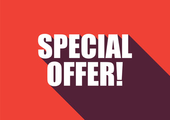 Special offer text with long shadow