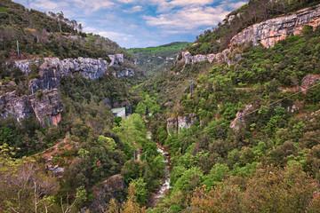Mons, Provence, France: the river canyon Gorges de La Siagne with a hydropower plant