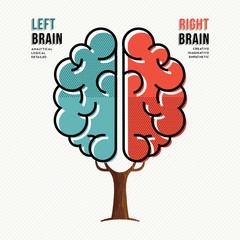 Human brain concept for right and left hemisphere