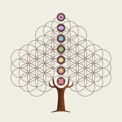 Flower of life concept tree with yoga chakras